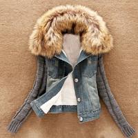 women jackets coat 2014 denim jacket Autumn winter Fur Collar Lamb Cotton Denim Outerwear Jeans coat Casual women Coat  S-3XL