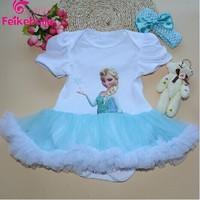 Lovely Baby Toddler Girls Ruffles Tutu skirt Romper onesie Outfit Dress frozen dress Summer Baby Shower Gift
