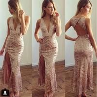 Autumn New Fashion women apricot deep v neck lace hollow out vestidos de fiesta evening party prom bodycon celebrity long dress