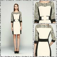 Free shipping 2014 Hitz Slim Temperament Ladies Stitching Lace Dress KC833