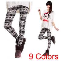 New 2014 Ladies Legging Bottom Pants Retro Knitted Snowflakes Multi-Colors Figure Women Leggings