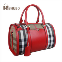 SHUBO Famous Brand Bags 2014 Casual Women Genuine Leather Handbag Portable Bag 3 Color Plaid Handbags Bolsas Femininas SH073