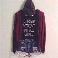 STRESSED DEPRESSED BUT WELL DRESSED punk style letter Printed S-XXXL Plus size Women men cotton casual t shirt promotion! BB9005