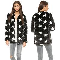 FREE SHIPPING new 2014 autumn winter Plus Size simple fashion hit color Stars pattern side pockets soft women fur coat XS-XXL