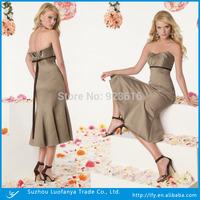 Custom made sweetheart sleeveless backless with sashes mid - calf satin short prom dress