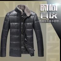 HOT!! Winter warm motorcycle men's Genuine leather sheep skin men's Velvet down coat jackets With mink fur Collar overcoat