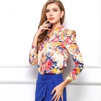 2014 Hot Sale  Women Long Sleeve Shirt Tops Fashion Vintage Floral Print Pattern Chiffon Blouse