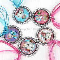 50pcs/lot 2014 New Arrival 46cm Sheriff Callie's Wild West Cat Bottle Caps Necklace Girls Ribbon Cartoon Pendants Necklace