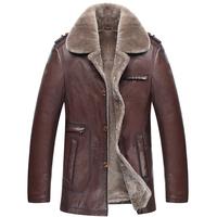 Men's Natural woollen Fur leather coat Men's double face sheep skin Genuine leather jackets coat with woollen bladder size L-5XL