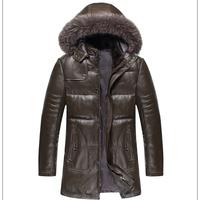 Super quality! men's Genuine leather sheep skin coat With mink fur Collar overcoat men's Velvet down jackets Hooded with fox fur
