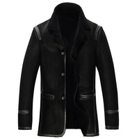 Men's Genuine leather sheep skin double face jackets with woollen bladder men's outerwear Leather Coats leather fur coat L-5XL