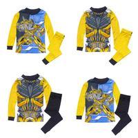 Kids Pajamas Transformers Sleepwear for Boys Cotton Long Sleeve Pants Children Clothing Set Pijama Yellow Blue Cartoon Costume