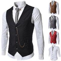 2014 New Spring Fashion Men's Business Waistcoat Casual Slim Fit Decorative Metal Chain Dress Suit Vest Asia size S M L XL XXL