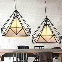 RH Nordic modern minimalist dining room chandelier iron cage study Vintage diamond chandelier lighting