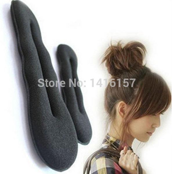 Min.order is $10 (mix order) 2pcs /lot Women's Magic Foam Sponge Hairdisk Hair Device Donut Quick Messy Bun Updo Headwear 0071(China (Mainland))