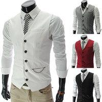 2014 new arrival custom fit Men Fashion Slim pocket zipper wedding fashion casual Business Blazer Dress Suit Vest S-XXL D455