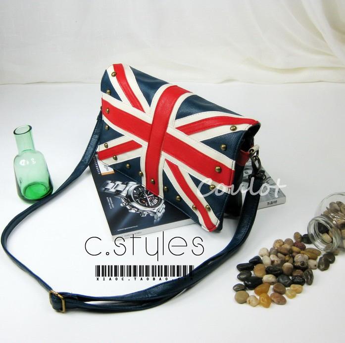 free shipping flag bag navy torx flag british style rivet bag shoulder bag messenger bag handbag women's KLD14(China (Mainland))