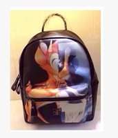 NEW 2014  women and men small and big size women Graffiti Printed leather fawn pattern  Backpack book bag Travel Bags