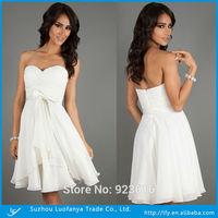 Custom made sweetheart sleeveless backless with baw sashes chiffon short  prom dress