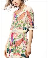 2014 Summer New Women's Dress Drawstring Waist Ladies Vintage Dress Temperament Slim Beautiful Printing Dress Women
