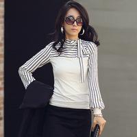 Women T shirt Striped cotton long-sleeved T-shirt women Bow Tops T-shirts for women