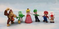 High Quality 2int PVC Super Mario Bros Luigi donkey kong Action Figures 6pcs/set youshi mario Gift OPP retail