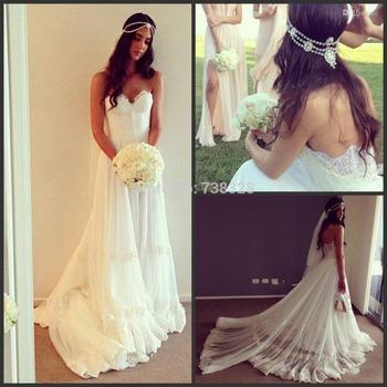 2014 новинка настоящее изображения тюль Vestido де феста белый милая платье-линии романтический дешевые пляж сад свадебное платье свадебные платья