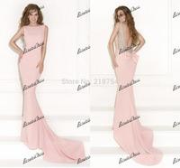 Gorgeous Boat Neck Open Back Beaded Mermaid Long Court Train Pink Spandex Dress Party Evening Elegant Prom Dresses 2014 Vestidos