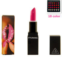 3CE, Hot! 18 color waterproof lipstick moisturizing lipsticks moisture makeup lipstick. Lip gloss10pcs M15017
