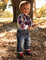 New Arrival Children's wear, Fashionable Boys clothes plaid long sleeve shirt +Braces +jeans Suit. Baby clothing, 5set/lot