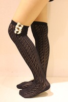 New Arrival Women's Fashion Lace Boot Socks Knee High Socks Ladies Leg Warmer Lace Side With 2 Buttons