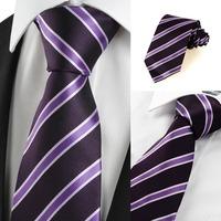 New  2014 Striped Purple Black Formal Men Tie Necktie Wedding Party Holiday Gift  409