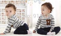 New Arrival Children's wear, Fashionable Boys Girls bear suit stripe long sleeveT-shirt pants Suit. Baby clothes, 4set/lot