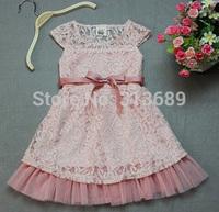 10pcs 2014 Fashion Designer Girls Dresses Beige Lace Top With Gauze Hem And Belt Children Summer Casual Clothing Cheap KR03 W1