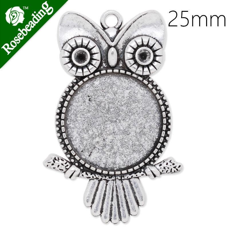 25mm Round Pendant blank,antique silver,Owl,20pcs/lot-C4228(China (Mainland))