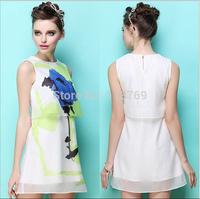 European And American Style 2014 Summer New Women's Dress Ladies Round Neck Vintage Dress Sleeveless Printed Chiffon Dress Women