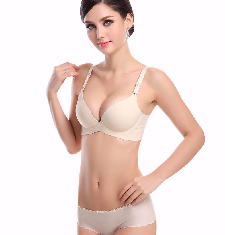 (1set/lot)Pure Color Women 32/34/36/38 C/D Big Size One-Piece Push Up Seamless Bra Winter Sexy Bra Underwear Set(China (Mainland))