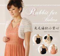 Free shipping natural rabbit fur bolero women real fur vest real rabbit fur coat