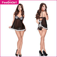 New Details About Women Hot Sexy Cheap Baby Doll In Black With Lace Lingerie Sleepwear Babydoll Dress+G-string Drop Shipping