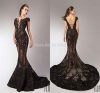 2015 High Quality Lace Beading Sequined V-neck Mermaid vestido de festa Sleeveless See Through Sexy Long Black Evening Dress