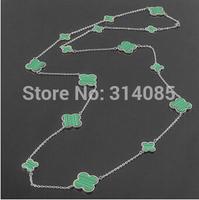 Gurantee 100%  malachite clover ladies chain flower statement necklaces pendants vintage silver