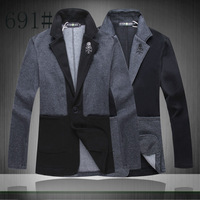 2014 autumn coat long sleeve casual suiting jacket men patchwork style jacket black&grey color S-XXL free shipping