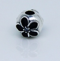 925 Sterling Silver Black Enamel Flower Clip Bead Fits Pandora Jewelry Bracelets Necklaces Pendants