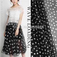 Major suit of black and white circle playful waves little Shun Yu Joe Qisang silk fabrics Shun Yu crepe chiffon fabric DIY