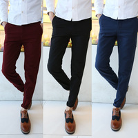 2014 New Korean 100% Cotton Men Casual Pants Fashion Men's Straight Trousers Men Slim Fit Dress Pants 9 Colors Size 29-36