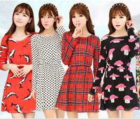 24 Color 2014 Autumn Fashion Hot Sale Solid Long-Sleeve Women Dress Casual Slim Print Lady Winter Dresses Plus Size vestidos