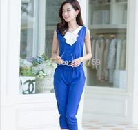 European and American Style 2014 Summer New Women's Siamese pants Ladies Sleeveless Chiffon Piece Pants Temperament Slim Female
