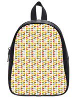 Brand New Custom High-grade PU leather Leaves Pattern Backbag Bag School Bag