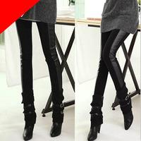 Wholesale Elastic Woman Skinny Fashion Leggings Cotton  Faux Leather Leggings V3NF