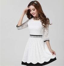 Nova moda 2014 mulheres verão outono vestido branco vestido de renda preta Sexy Bottoming túnica vestidos femininos roupas baratas da china(China (Mainland))
